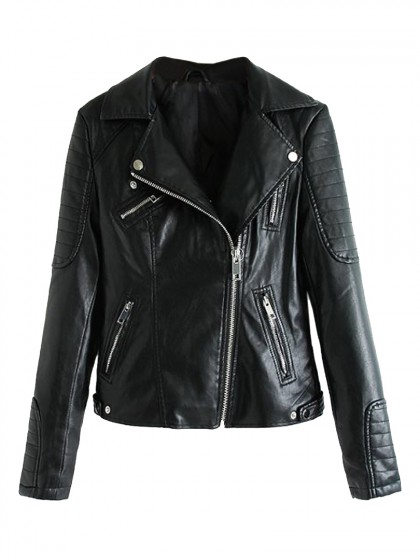 Black Lapel leather biker jacket
