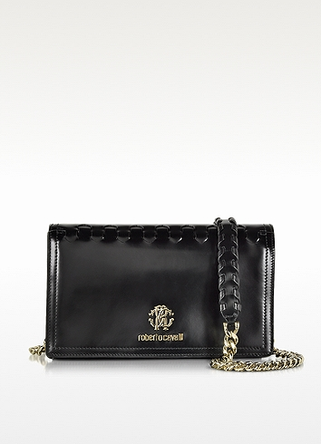 Roberto Cavalli Black Leather Clutch