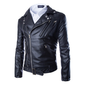 Autumn Fashion Men Casual Zippers Leather Motorcycle Jacket