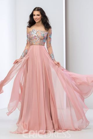 Sleeve Appliques Prom Dress