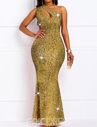 Ericdress - Length Sleeveless Hollow Summer Mid Waist Golden Dress - Shareasale