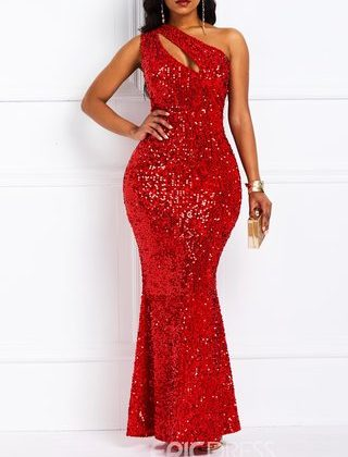 Oblique Collar Sequins Floor-Length Sexy Mermaid Dress