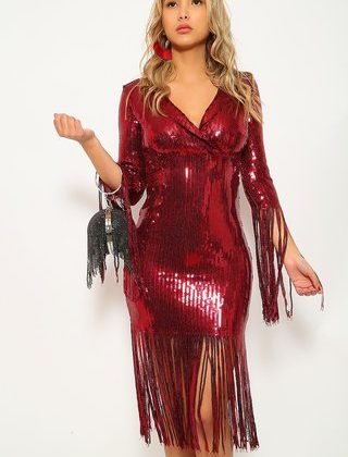 Wine Fringe Sequin V-Cut Party Dress
