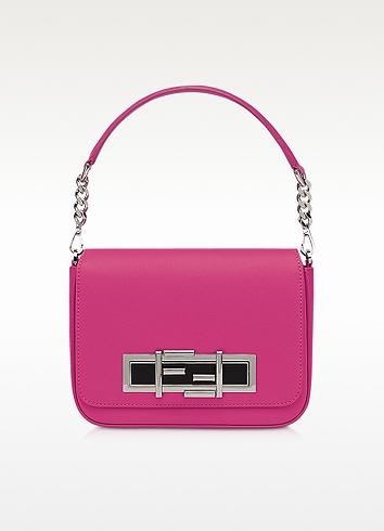 Fendi 3Baguette Chain Magenta Leather Shoulder Bag